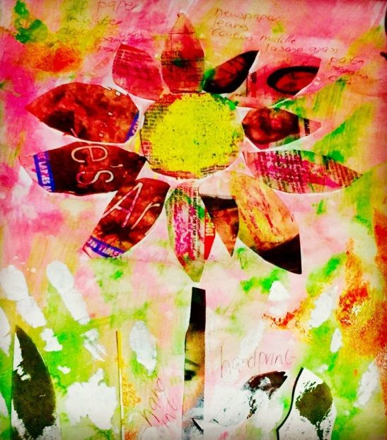 Create these stunning artworks with food colouring, sponges, glue, wax and newspaper.