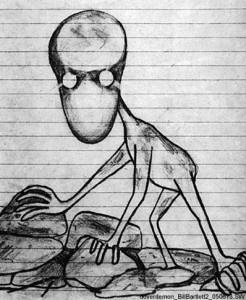 'Dover Demon' by Bill Bartlett. Sighted: 21 April, 1977, Dover, Massachusetts.