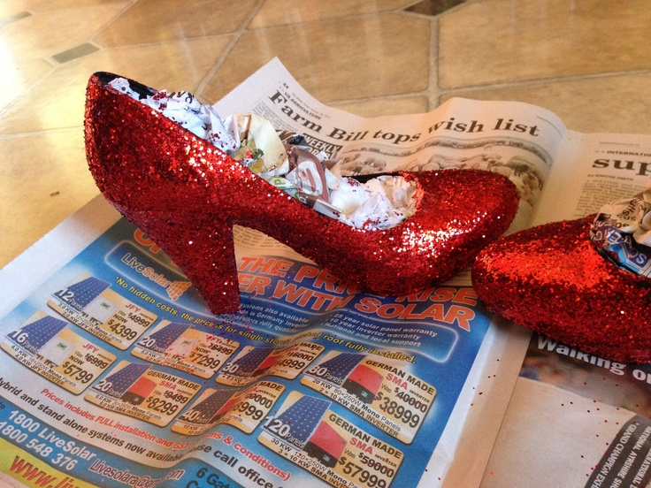 Ruby slippers for my 30th birthday dinner. Mod podge & red glitter. Finished with more mod podge & clear gloss lacquer