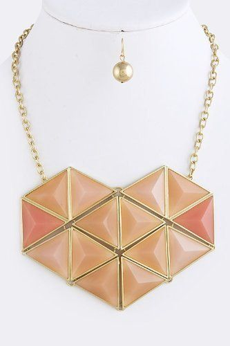 """Peach Acrylic and Gold Jewel Drape Collar Necklace -Origami Heart Gold Accent Layered Necklace StarShine Jewelry. $20.20. Length approx 20"""". Matching earrings come as set. Lead and nickel compliant.. Heart 4.5"""" x 3.5"""". Lobster claw clasp with 3"""" extender. Origami heart necklace"""
