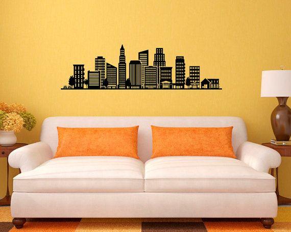City Skyline parete vinile Decal architettura Wall Sticker grattacielo Home Interior parete grafica Bedroom Decor rimovibile 1(sty)