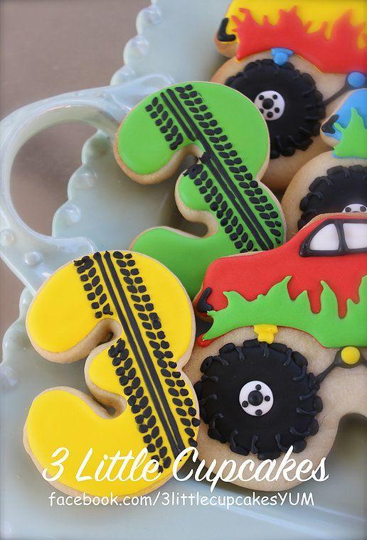3 Little Cupcakes | Fun orders! Monster truck theme cookies 3rd birthday cookies tire track cookies #MonsterTrucks