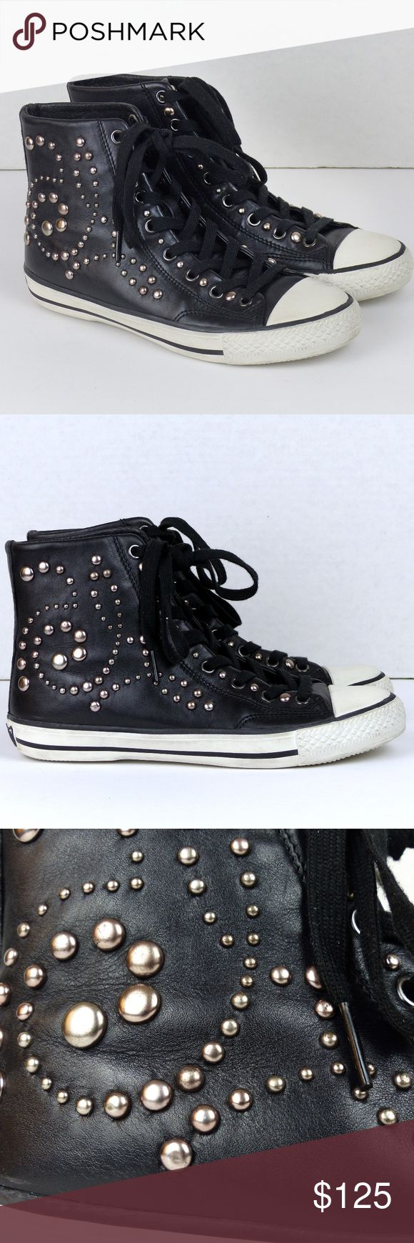 Ash Studded Hi-top Lace-up Leather Sneakers 38/ 7 Slightly worn, Ash Round Studded Swirl design hi-top leather lace-up sneakers. Cool for the rocking bad ass gal!  ❌Slight dirty areas around while sole. Minimal scratches on studs.   Size/ Measurements: US 7  (true to size) EU 38 UK 5  9 ¾ Insole Length  10 Sole Length 4 ¼ Shaft   Detail: Studs on outer shoe side, tongue and near lace grommets. Clean insole Leather upper Ash Shoes Sneakers