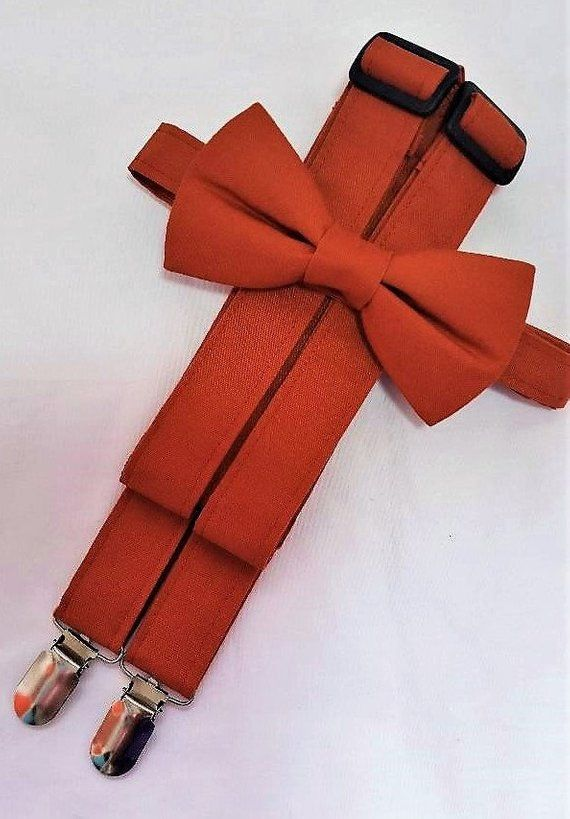 7e6425fc7be Sienna Orange Suspenders and Sienna Orange Bow Tie. Bridal Color Sienna.  Sizes Infant-Adult. Free Fabric Sample Available.