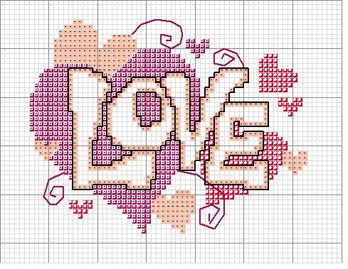 Hippie love hearts free cross stitch chart