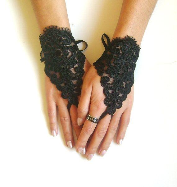 Goth gotische Spitze schwarz Hochzeit Handschuhe