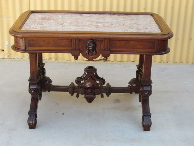 Antique Victorian Marble Top Tea Table Parlor Table Antique Furniture