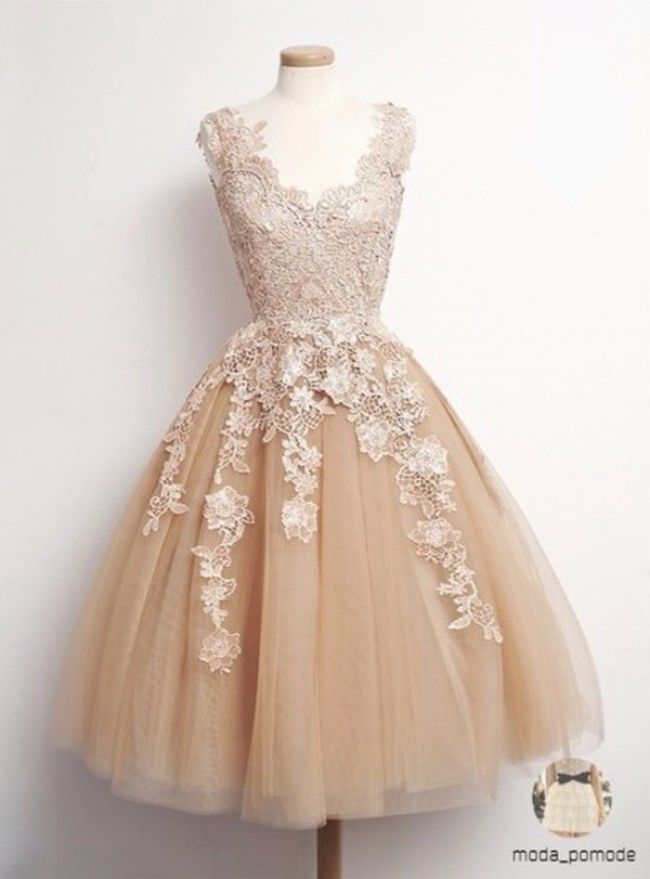 Retro tulle lace short prom dresses, formal dresses