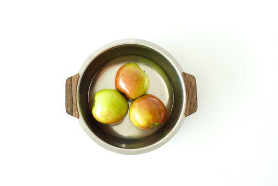 DANISH MODERN Serving Bowl or Dish by STELTON, Stainless Steel Platter, Teak Handles, Made in Denmark, Danish Classic,