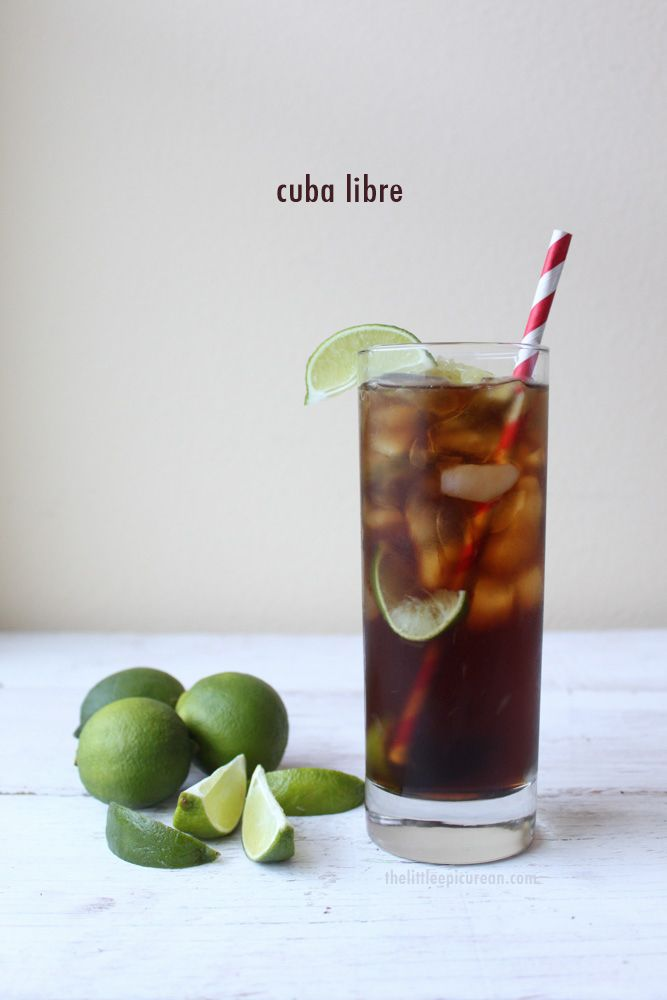 Cuba Libre 2 oz. dark rum lime wedges Coca Cola Ice