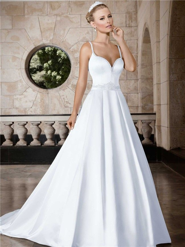 6bdeb75c6651d A Line Sweetheart Low Back Satin Wedding Dress With Beading Sash  Straps bridalgown lowback weddings