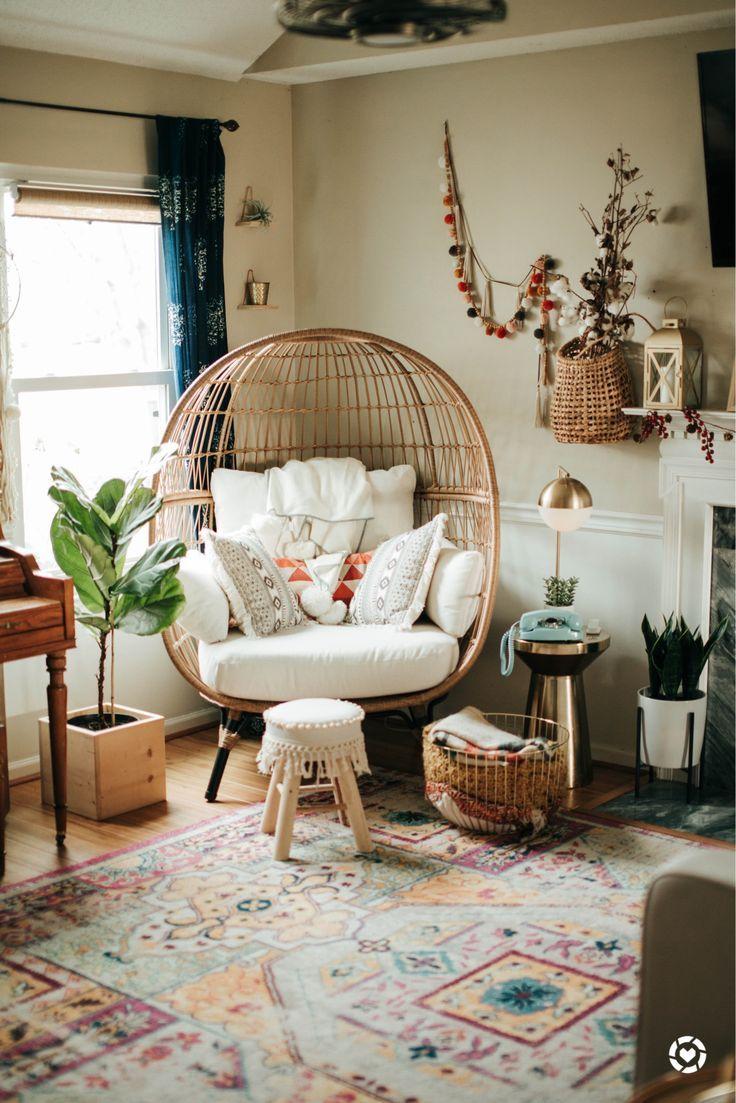 Wicker egg chair from target! in 2020 Boho living room