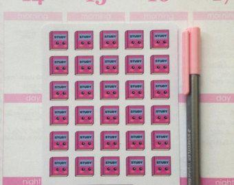 Aangepaste Kawaii stickers, perfect voor al uw planning behoeften! Ik trok het hele beeld met behulp van grafische software.  Stickers zijn gedrukt op mat papier.  Fiche grootte: 3,5 x 4.5  Sticker grootte: 0,5  Deze beelden behoren tot alohadoodle.com.