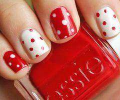 Valentines Day!: Red And White, Nails Art, Cute Nails, Nails Design, Valentines Nails, Minnie Mouse, Polka Dots Nails, Valentines Day, Nails Polish