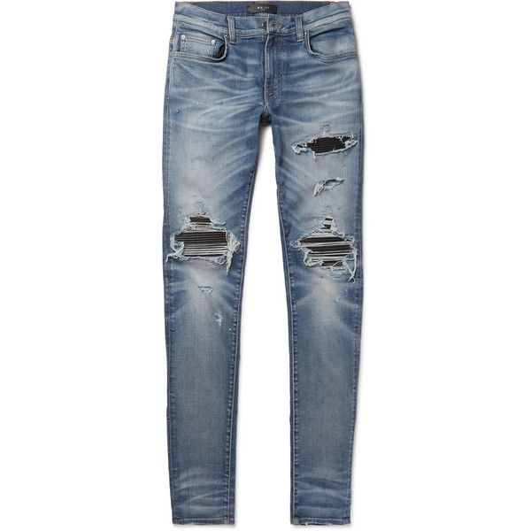 AMIRI MX1 Skinny-Fit Leather-Panelled Distressed Stretch-Denim Jeans ($1,040) ❤ liked on Polyvore featuring men's fashion, men's clothing, men's jeans, mens ripped jeans, mens destroyed jeans, mens stretch denim jeans, mens distressed skinny jeans and mens stretchy jeans