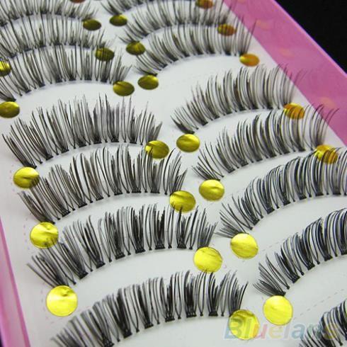 10 pasang bulu mata palsu lintas panjang, Makeup Natural palsu mata bulu mata hitam tebal 2ICQ