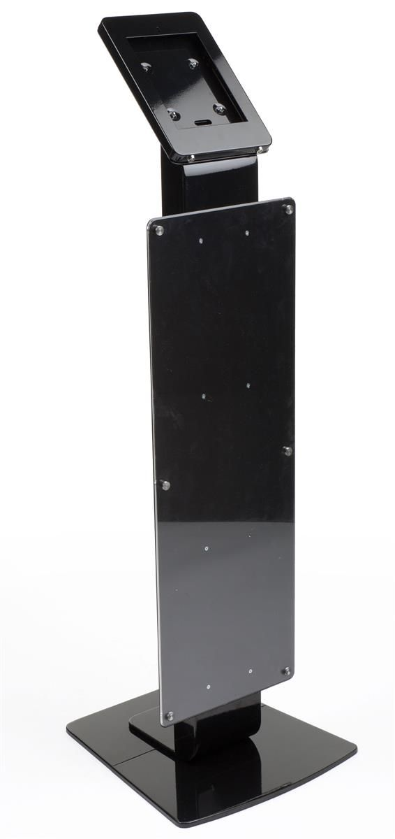 Navigator Plus Series iPad Floor Stand w/ Locking Enclosure & Poster Holder - Black