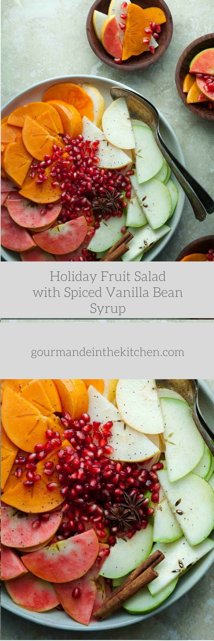 A holiday fruit salad filled with apples, pears, persimmons, pomegranate seeds and seasonal spices. There's nothing better than a bowl of fresh fruit to break up the assault of overly rich foods we…