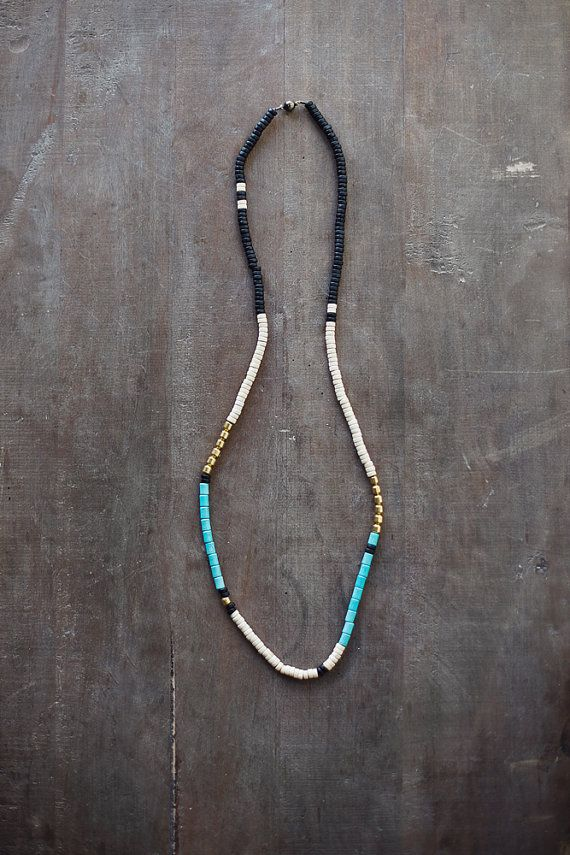 Mixed Media Boho Necklace / Black Creamy White Turquoise Necklace / Turquoise Stone Gold Metal Necklace