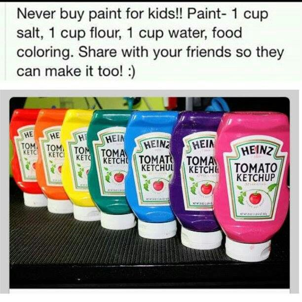 PAINT in KETCHUP BOTTLES! 1 cup salt, 1 cup flour, 1 cup water and food coloring.