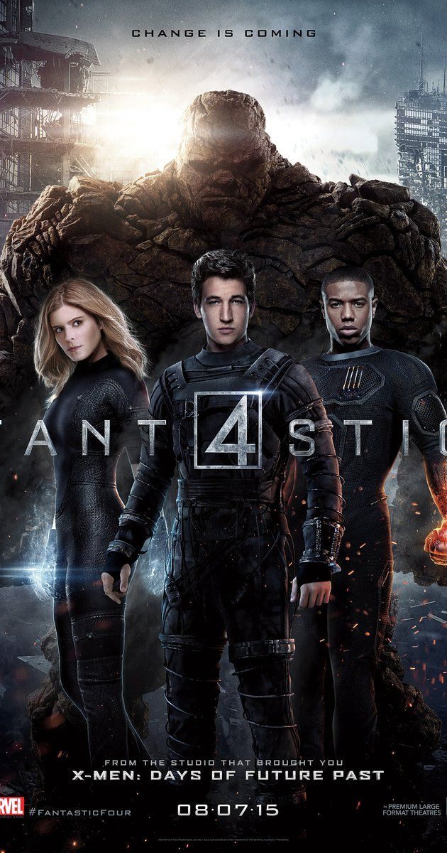 Directed by Josh Trank.  With Miles Teller, Kate Mara, Michael B. Jordan, Jamie Bell. Four young outsiders teleport to an alternate and dangerous universe which alters their physical form in shocking ways. The four must learn to harness their new abilities and work together to save Earth from a former friend turned enemy.