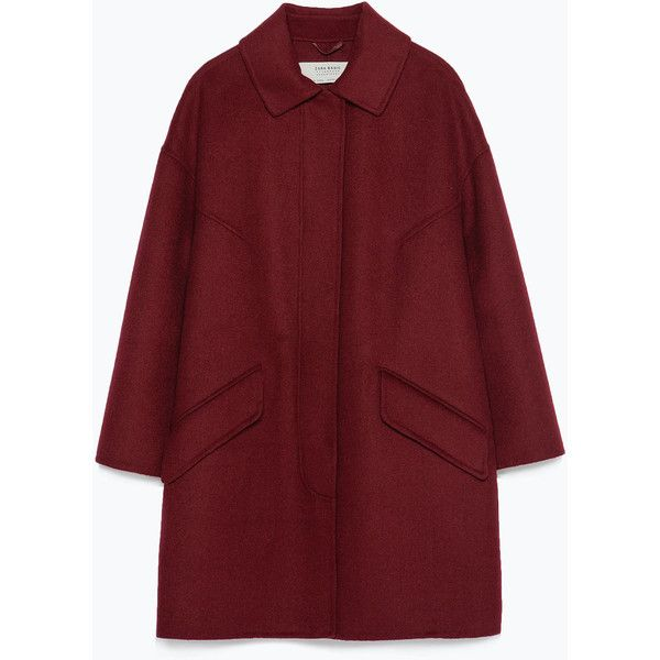 Zara Hand Made Coat ($169) ❤ liked on Polyvore featuring outerwear, coats, пальто, burgundy, burgundy coat, red coat and zara coat