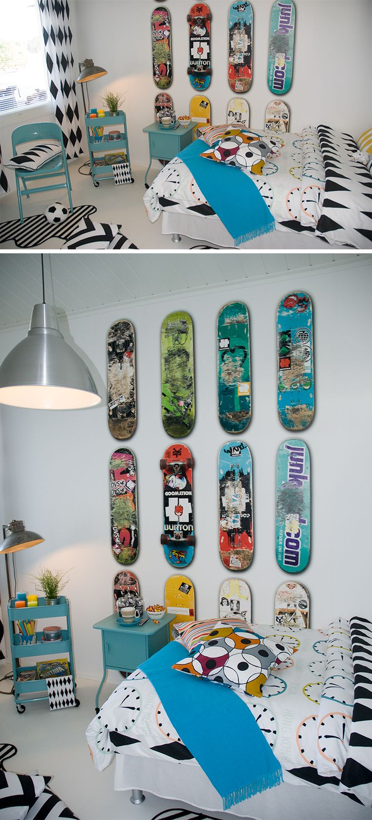 Coolt tonårsrum med skateboards på tapeten
