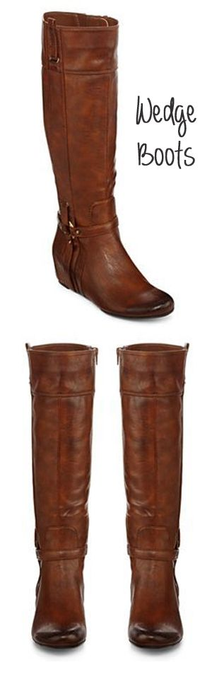 Cognac Brown Wedge Boots...I love these...I am not a boot wearing girl...but I love these!