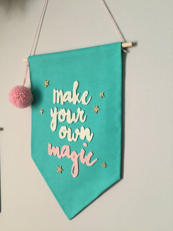 Make your own magic wall banner aqua pastel by Hangingwithlucy