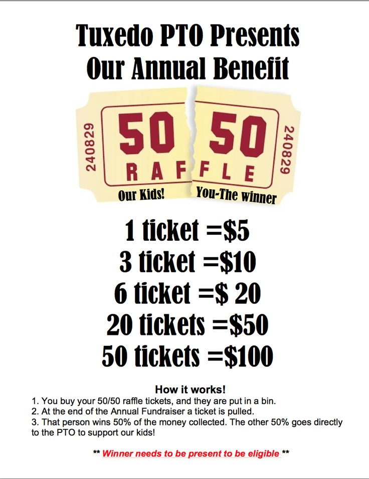 50 50 Raffle Fundraiser Flyer HLA Pinterest 50th, Fundraising