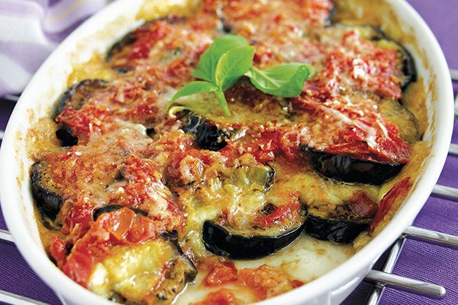 Repeating layers of eggplant, tomatoes and a blend of mozzarella and Parmesan make this tasty casserole a contender in the New Favorite Recipe category!