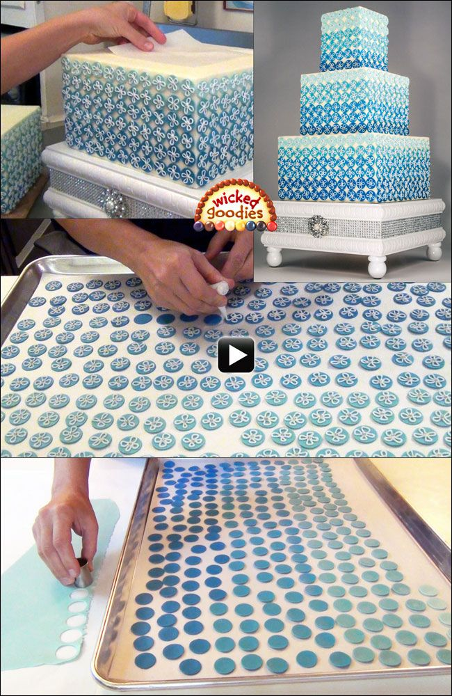 Video Tutorial: Blue Ombre Wedding Cake Decorated with Modeling Chocolate