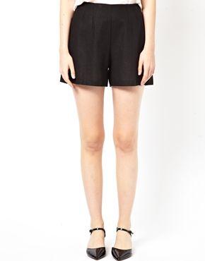 Aumentar Pantalones cortos de lino de talle alto de ASOS