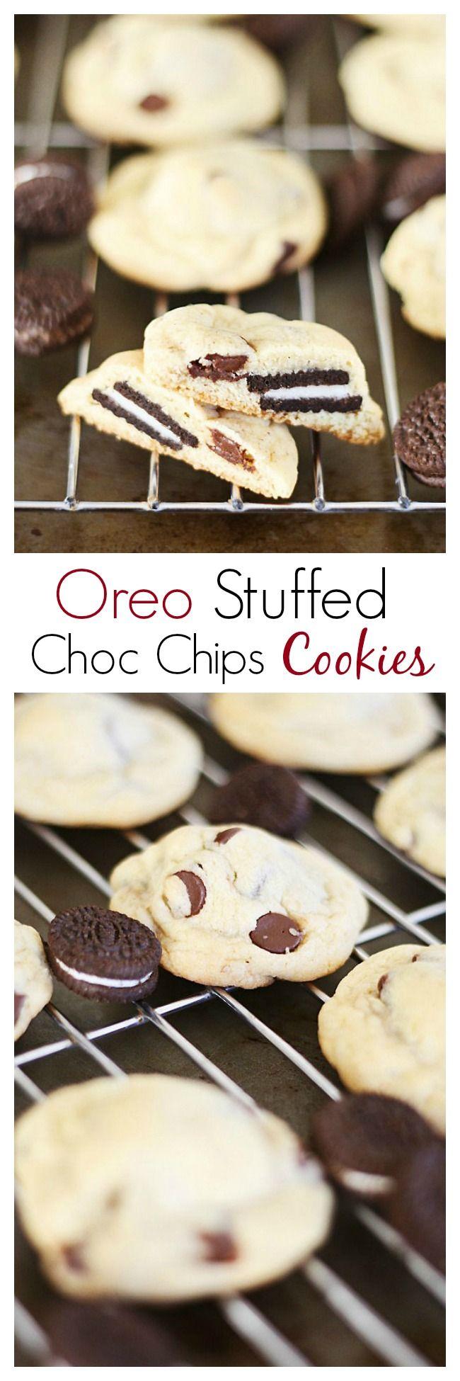 Easy Oreo-stuffed chocolate chip cookies recipe. Sweet crunchy cookies with creamy Oreo inside, a great treat. Recipe by @jennyflake  rasamalaysia.com