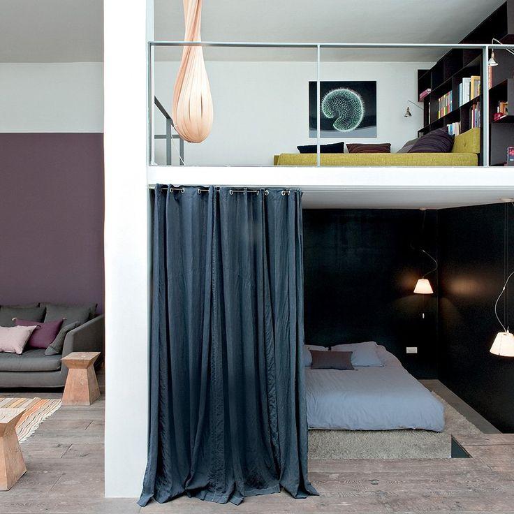 chambre mezzanine loft avec rideau de séparation idée de cloison pour chambre