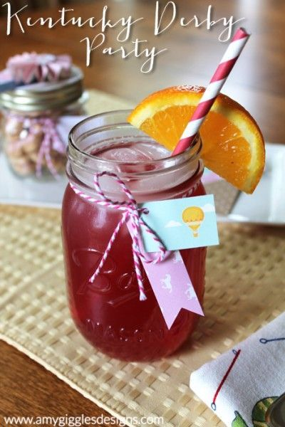 The official drink of the Kentucky Oaks... the Lily! Includes the recipe to make your own! www.amygigglesdesigns.com party food party ideas #shabbychic #girlparty #PartyIdeas party decorations