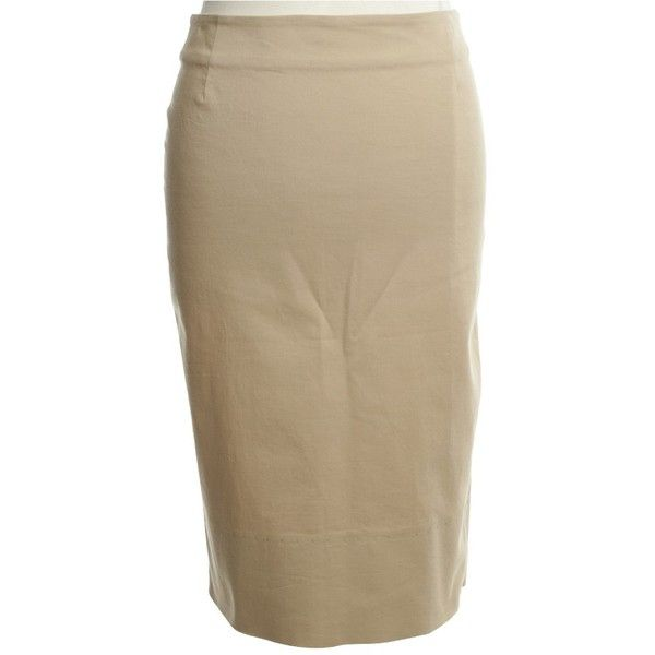 Pre-owned Pencil skirt in beige (1.840 CZK) ❤ liked on Polyvore featuring skirts, beige, beige skirt, pencil skirts, brown pencil skirt, zipper skirt and knee length pencil skirt