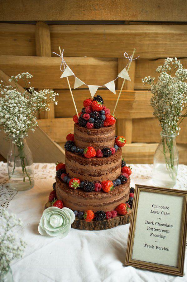 Naked Chocolate Cake with Fresh Berries