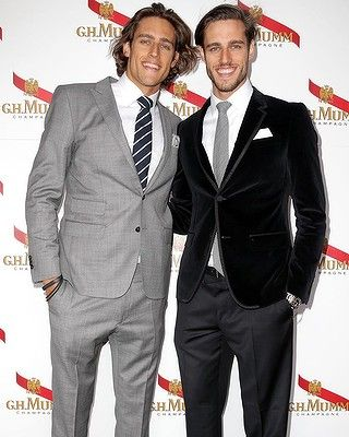 Models Zac and Jordan Stenmark at the Mumm Marquee on Derby Day.
