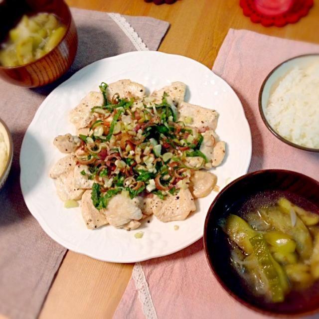 さっぱり焼きはNHKのきょうの料理でやってたやつ。 - 10件のもぐもぐ - 鶏むね肉のさっぱり焼き、なすとピーマンのスープ。 by asumi1022