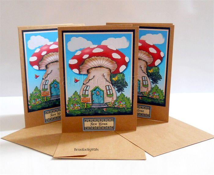 House Warming Card - New Home Greeting Card - Fairy Mushroom House - Handmade
