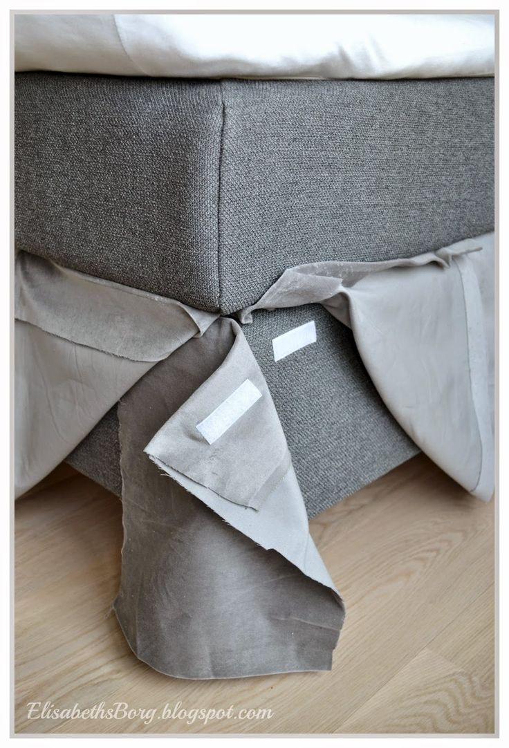 Make a simple bedskirt with velcro in box spring...