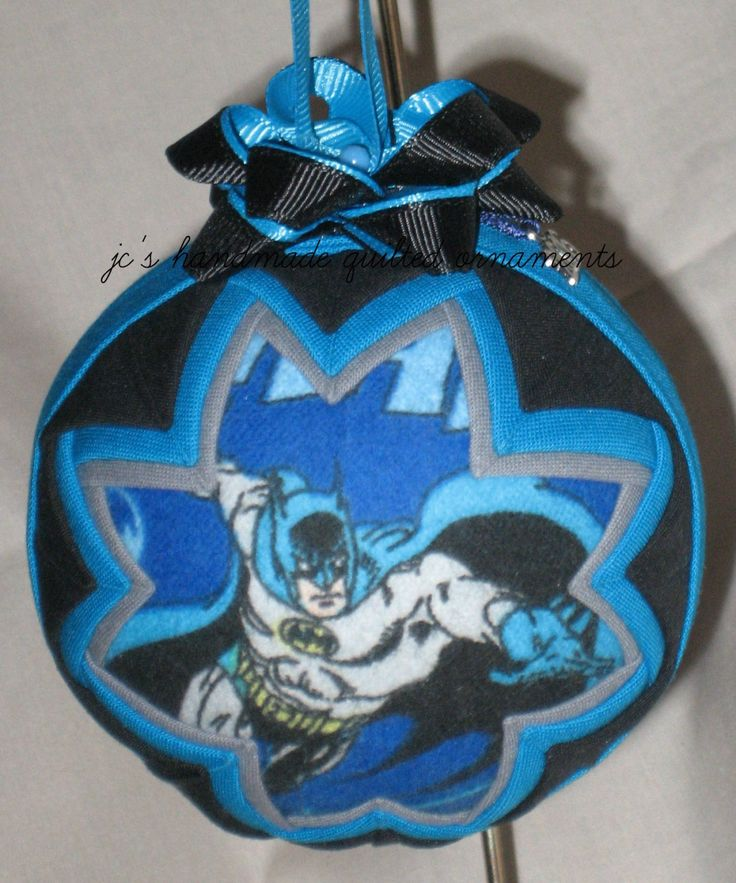BATMAN QUILTED ORNAMENT Made From Batman Fabric,Batman Ornaments,Batman,Super Hero Ornaments,Dark Knight,Gotham City,Batman Collectibles by JCQuiltedOrnaments on Etsy