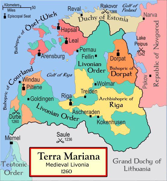 Terra Mariana, or Medieval Livonia, 1260, aka a map of Estonia