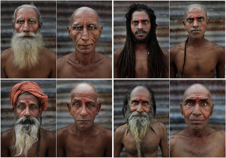 Antes y después de raparse la cabeza y barba en el Festival Maha Kumbh de Allahabad, India. El fotógrafo Kevin Frayer tomó estas imágenes de hombres santos hindúes antes y después de raparse la barba y la cabeza como parte del ritual de iniciación para convertirse en Naga Sadhus (hombres santos).