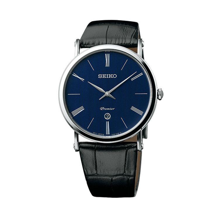 Ανδρικό ρολόι SEIKO SKP397P1 Premier με μπλε καντράν, λατινικούς αριθμούς ημερομηνία και μαύρο κροκό δερμάτινο λουρί | ΤΣΑΛΔΑΡΗΣ στο Χαλάνδρι #seiko #premier #μπλε #λουρι #tsaldaris