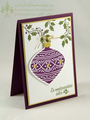 handmade Christmas card from First Hand Emotion .. ornament ... Stampin' Up!
