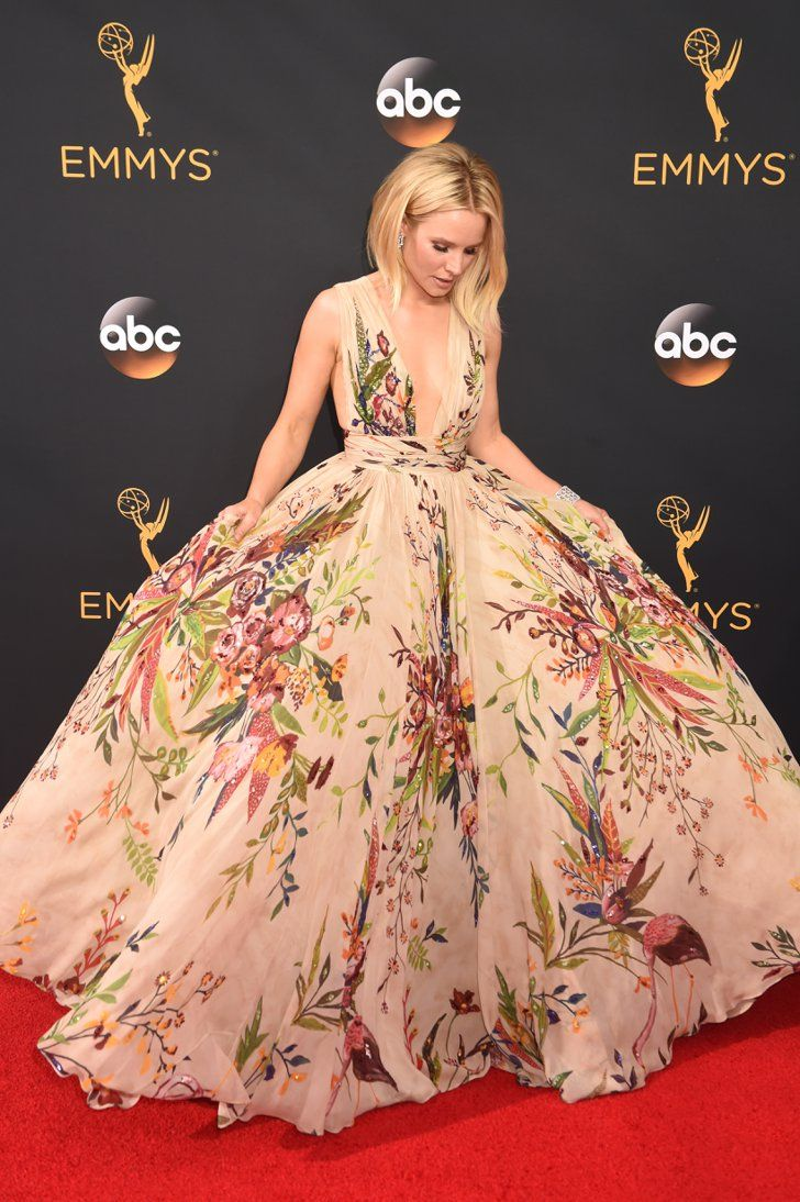 Kristen Bell Made 1 Not-So-Glamorous Move to Get Into Her Emmys Dress With Tape in Place and Hair Done, Kristen Looked Amazing on the Red Carpet Kristen Bell wore a Zuhair Murad Couture gown, Brian Atwood shoes, and Harry Winston jewels.