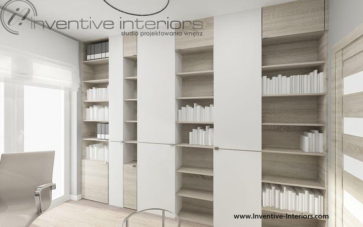 Projekt gabinetu Inventive Interiors - regał w nowoczesnym gabinecie