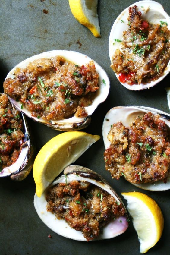 Chorizo-Stuffed Baked Quahog Clams #Recipe #Seafood #Appetizer